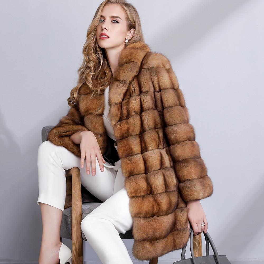 Jackets & Coats Fashion Style Real Sable Whole Mink Fur Women Slim Medium Coat With Hood Martes Zibellina Mink Fur Zipper Jacket Porpular Mink Fur Real Fur