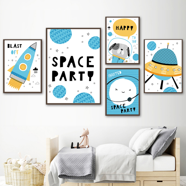Cartoon Space Rocket UFO Universe Planet Wall Art  2