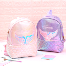 Cute Laser Leather Mermaid School Backpack Hologram Women Backpacks Bag For Teenagers Student Girls Book