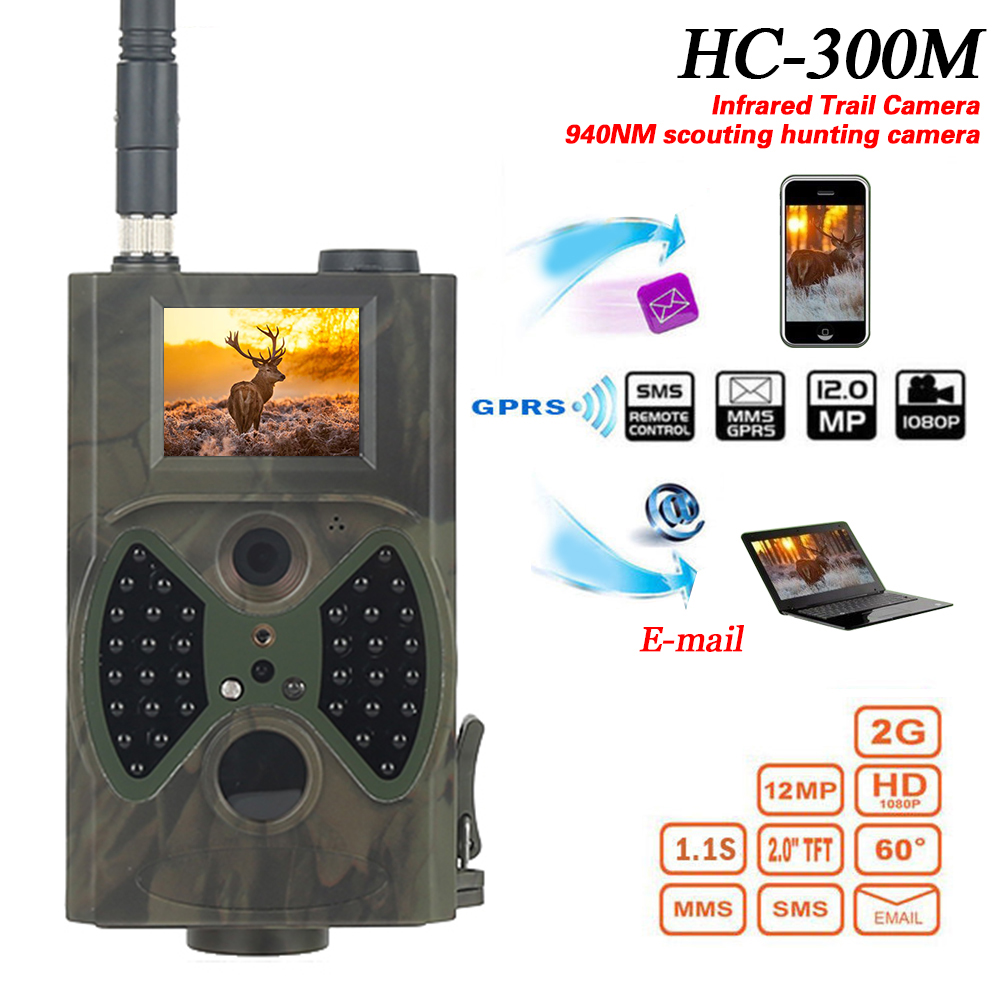 HC300M Hunting Trail  Camera GSM 12MP 1080P Photo Traps Night Vision Infrared Hunting Cameras Chasse Scout 940NM Video Cameras