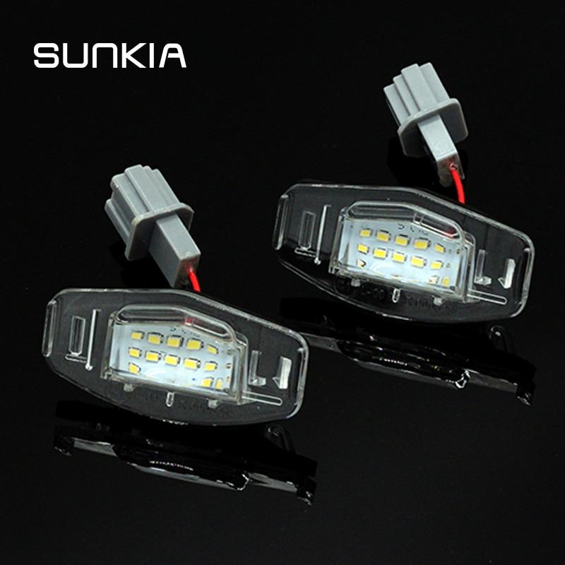 2pcs/set Canbus LED Number License Plate Light Lamp Error Free White 6000k For Honda Accord Odyssey Acura TSX 01-05