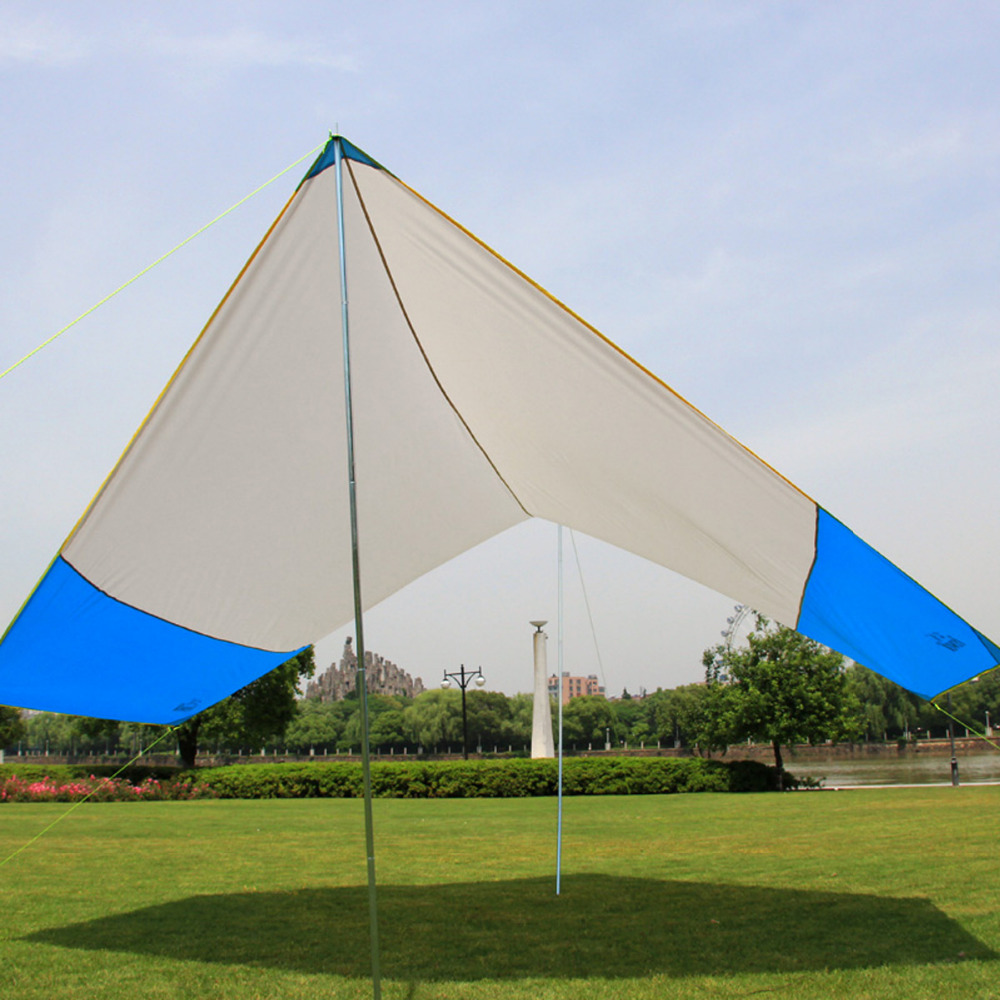 465*400cm outdoor beach sun shelter camping tent canopy large folding rainproof awning balcony canopy tarp for 4-8 People цена 2017