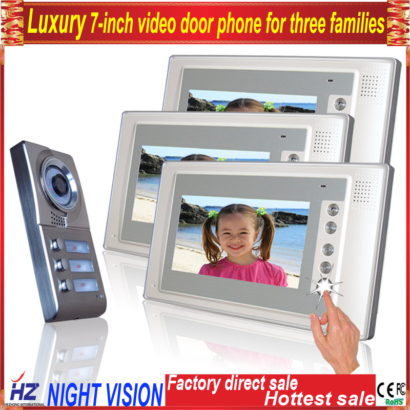 Saful Luxury panel 7wired audio video door intercom system free disturb with night vision for 10 apartments of 1 building 7tft lcd free disturb wired audio video door intercom system with night vision monitor doorbell for 10 apartments of 1 building