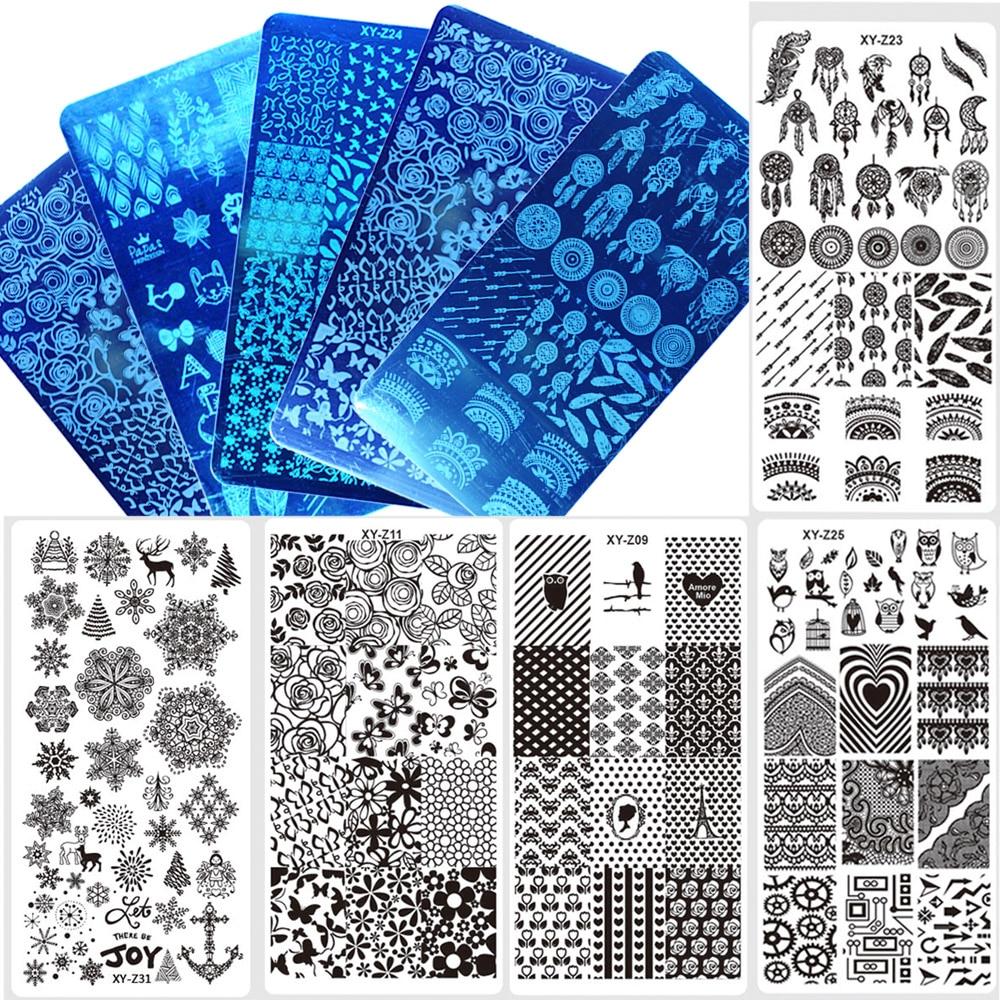 1 шт. 12*6 см прямоугольник ногтей штамповки шаблон отрицательный ветряная мельница цветы узоры DIY Дизайн ногтей маникюр штамп пластины JIXYZ01-32