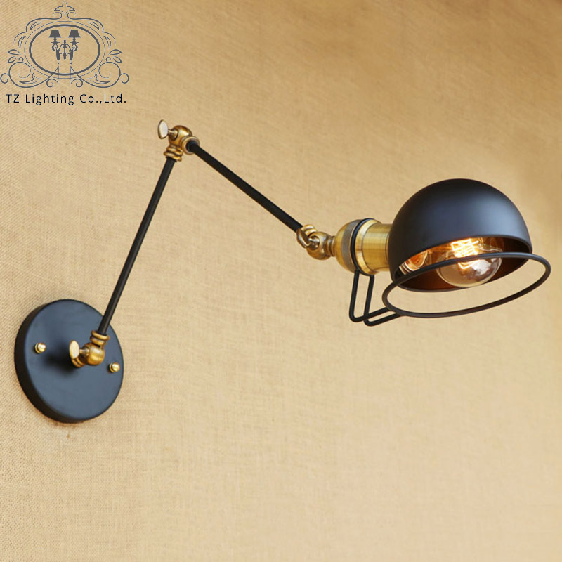 TZ Loft Industrial Jielde Wall Lamp LED E27 Vintage Long Arm Adjustable For Bedroom Living Room applique murale luminaire nordic loft creative loft milan industrial style modern bedroom study long arm living room villa copper bronze wall sconce lamp
