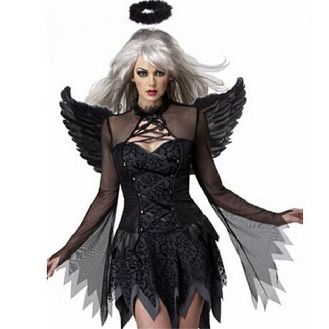 nattens engel dark angel with wings sexy scary halloween costumes for women zombie costume ghost bride devil clothing fun