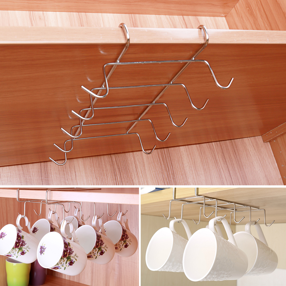 Stainless Steel Hanger Hooks Cupboard Coffee Cup Holder