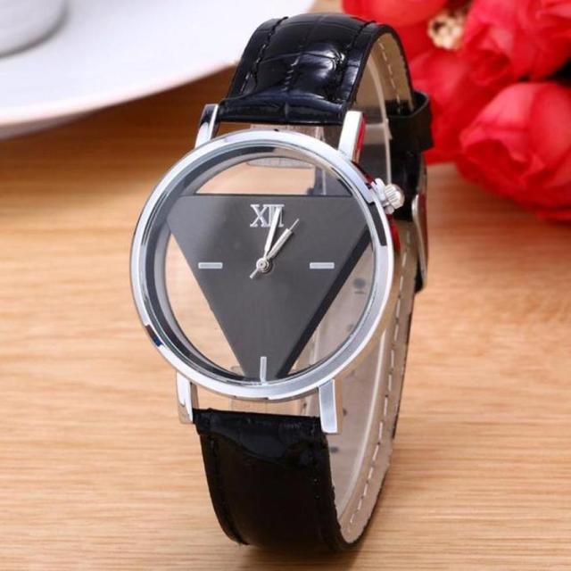 Skeleton Watch Women Hollow Transparent Triangle Dial Watch Red Pink Colorful Wr