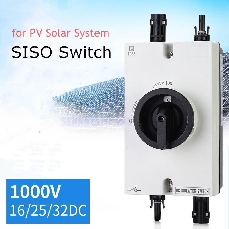 IP66 étanche SISO DC1000V 32A interrupteur d'isolement avec connecteur MC4 3 P DC commutateur de transfert d'isolateur pour système solaire PV