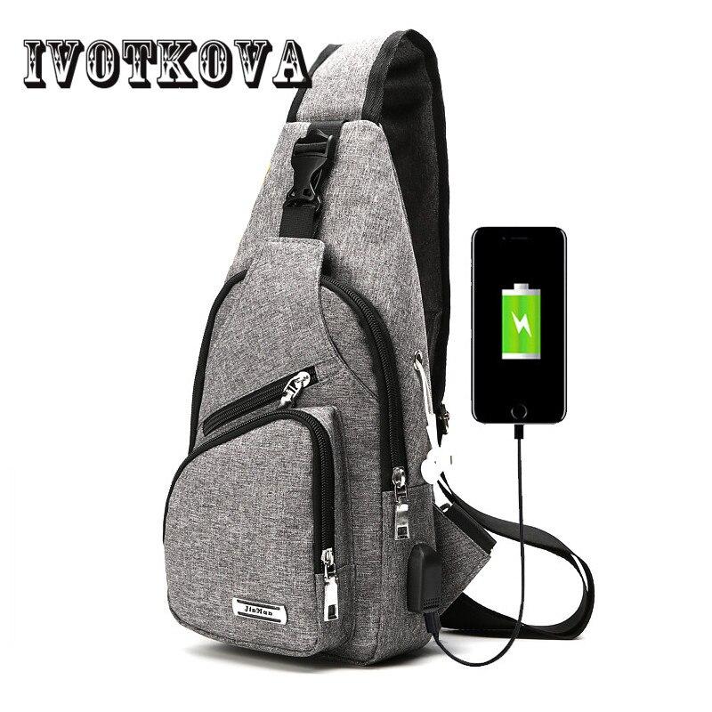 IVOTKOVA USB Design Chest bag Men Women Male Crossbody Bag New Nylon Men's Handbags Shoulder Bag Casual Travel Purse ivotkova men nylon bag 2017 new fashion men s shoulder