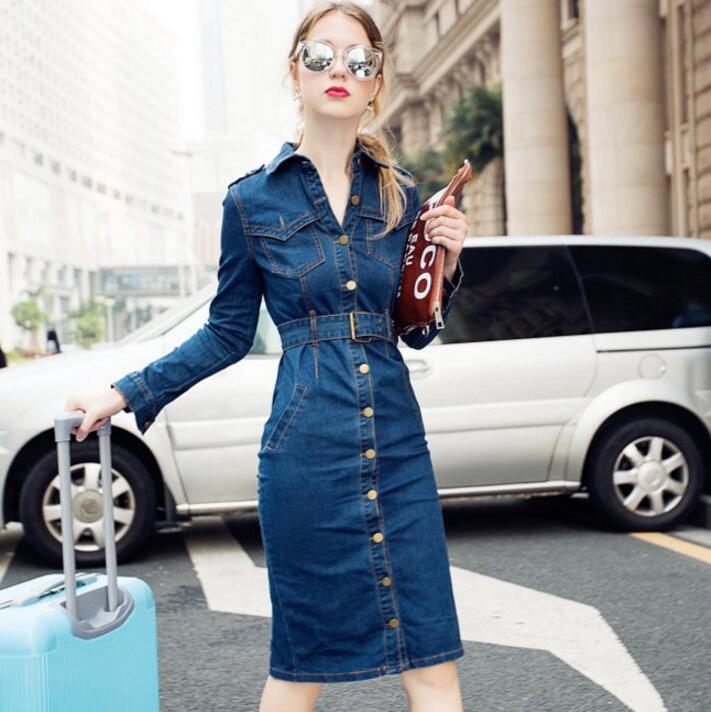 2018 grande taille S-4XL femmes Denim robe à manches longues bleu mode femmes Slim simple boutonnage genou longueur robe Vestidos s1608