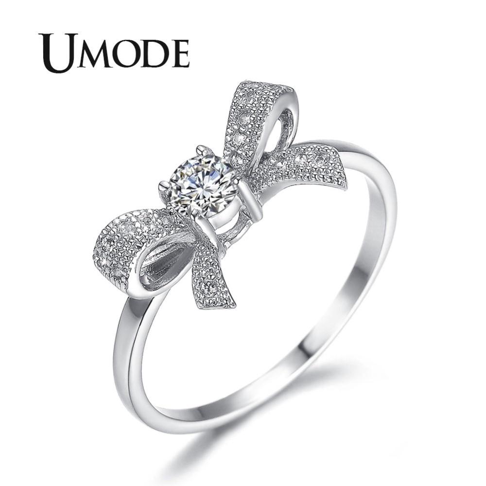 UMODE nueva llegada precioso Bowknot diseño anillo de joyería con Micro pavimentado corbata piedras CZ para fiesta y saliendo con UR0109B