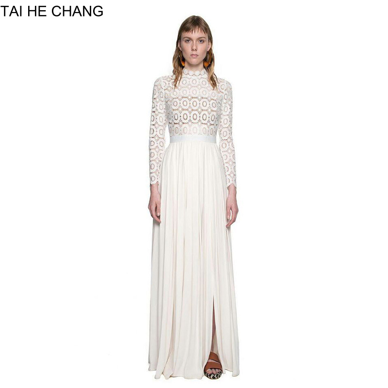 2017 high-end long sleeve white lace women maxi formal party crocheted spring autumn runway dress designer dresses 9283199090