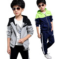 New Autumn Children's Clothing Sets Kids Boy Zipper Clothes Set Child Sport Suits Big Boy Tops + Pants Letters Sets 4-13 Years