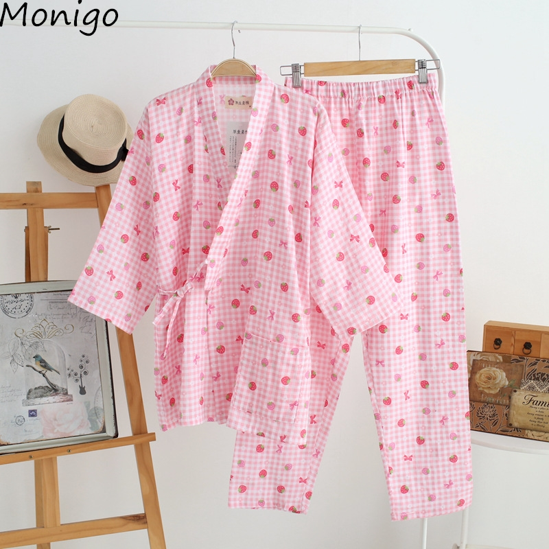 New Fashion Women's Pants Suit Cotton Pajamas Sweet Strawberry Print Ladies' Shirt Sleeve Home Clothes Sleepwear Nightwear