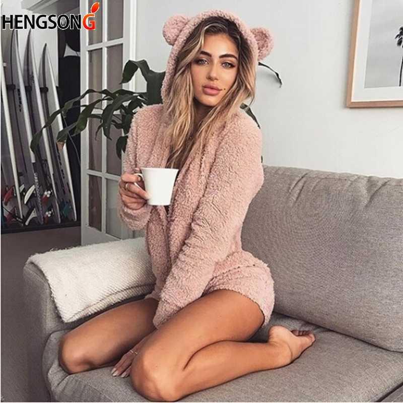Nuevo Bodi de lana con capucha de invierno de manga larga de otoño sólido peleles peludos Casual dulce Kawaii monos de talla grande 2XL
