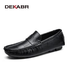 DEKABR mocasines italianos de cuero sin cordones para hombre, mocasines suaves de marca de lujo de alta calidad, talla grande 38 ~ 47