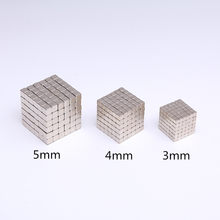 10/20/50/100pcs Powerful N35 Neodymium Magnets 3mm 4mm 5mm Super Strong Cuboid Cube Double Nickel Plated Rare Earth Magnets(China)