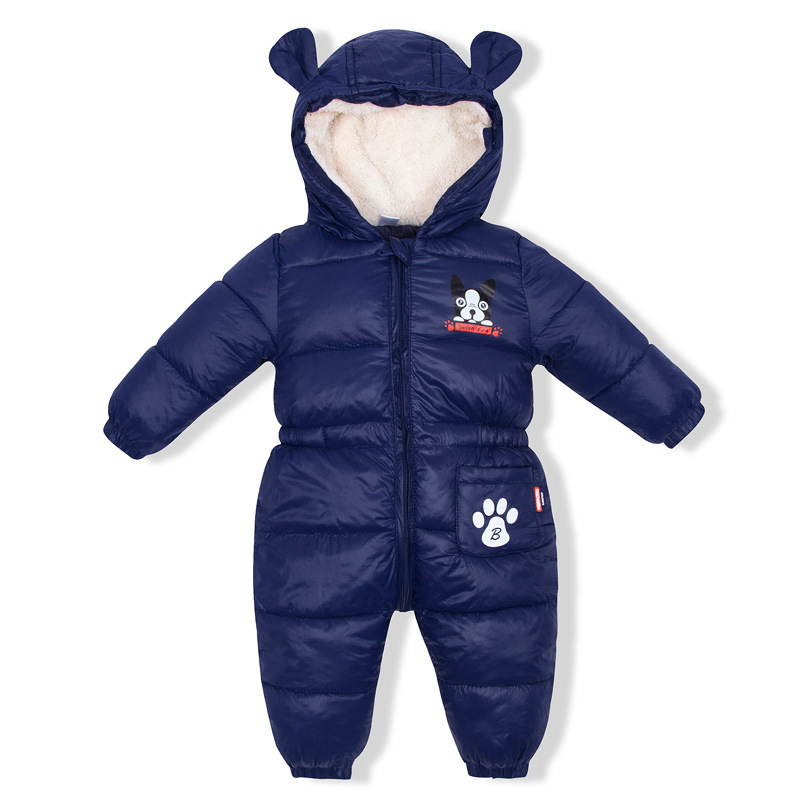 baby jumpsuit solid warm boys Girls snowsuit for newborn hooded winter overalls for girls unisex baby Down romper 2018 winter 1Y girls frill trim solid jumpsuit