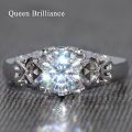 Queen brilliance gh color de lujo 1 carat ct moissanite diamante anillo de compromiso y boda anillo genuino 14 k 585 oro blanco