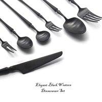 Black Cutlery Set 304 Stainless Steel Butter Knife Dessert Fork Western Dinnerware Set Kitchen Accessories fork spoon knife 7PC
