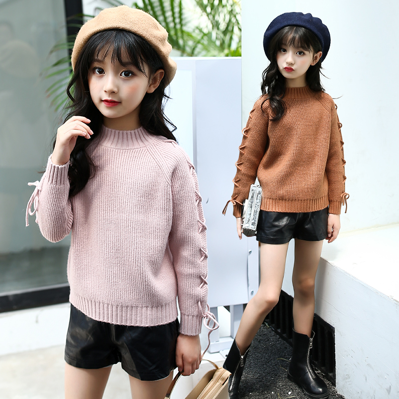 Autumn Winter Sweater For Girls 4 5 6 8 9 10 11 12 13 Years Teenagers Baby Girl Solid Casual Kids Teens Sweater Back To School kids winter clothes age for 2 8 years girl clothes thick warm baby pullover 2018 new autumn cute bow sweater back to school tops