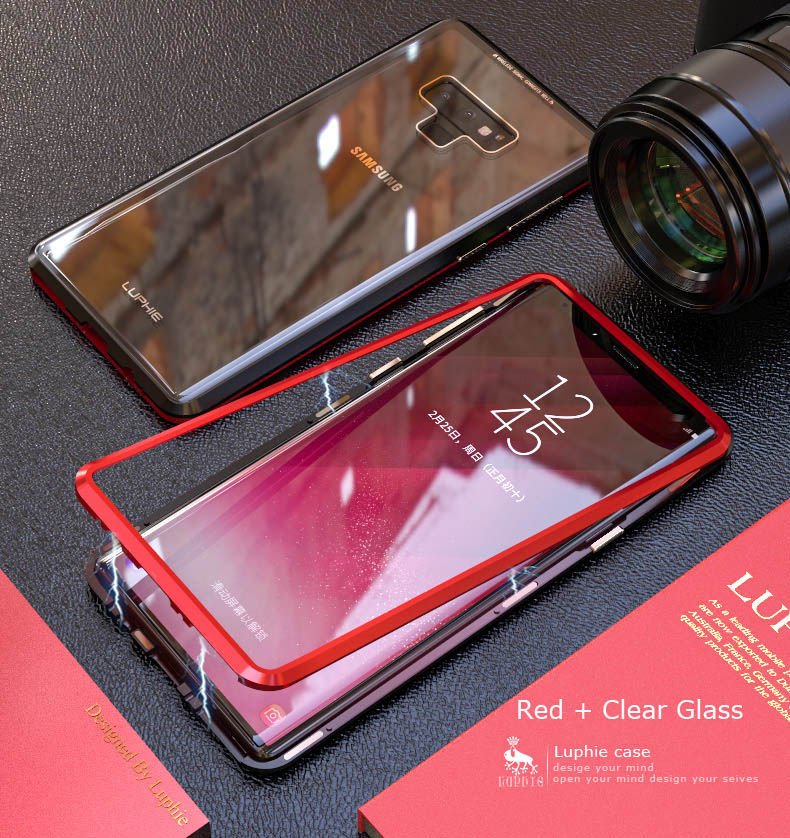 LUPHIE Magnetic Case For Samsung Galaxy Note 9 Clear Glass Magnet Case (8)