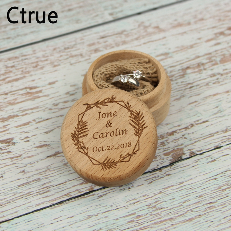 Personalized Gift Rustic Wedding Ring Bearer Box Custom Your Names and Date Flower Wing Heart Leaf Engrave Wood Wedding Ring Box in Party DIY Decorations from Home Garden