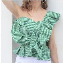 Summer Fashion Women Blouse Strapless Stripes Flounced Shirts Slim Sleeveless Shirt Blouse