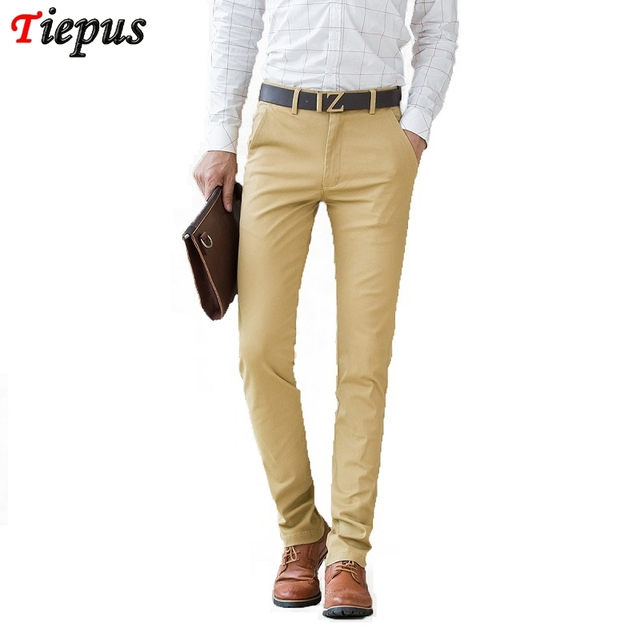19f4bfdaba03 Men Khaki Trousers 2018 Summer Casual Dress Classic Pants Male Slim  Straight Fit Work Business Joggers Long Cotton Blue Black 38-in Casual Pants  from Men's ...