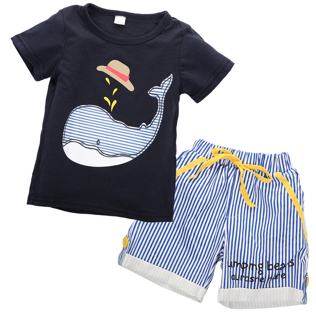 2017 2Pcs New Toddler Kids Boys Cloth Sets Summer Short Sleeve T-shirt Tops+ Shorts Outfits Set Age 1-7Y
