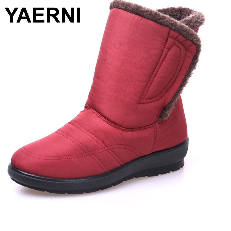 YAERNI 2017 winters new Women snow boots Lady shoes warm waterproof daughter girl red brand fashion shoes m034