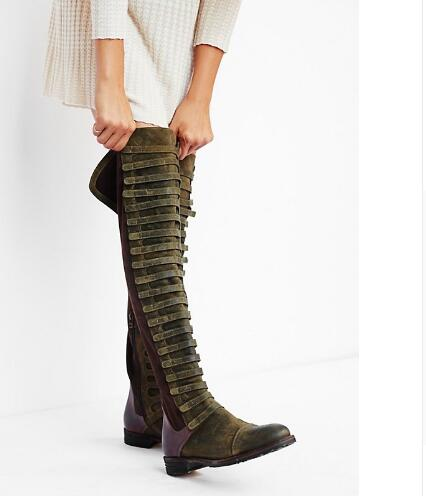 Choudory Western Retro Women Forest Style Over The Knee Boots Gorgeous Distressed Suede Leather Thigh High Boots Vintage Shoes shivaki stv 24ledg9