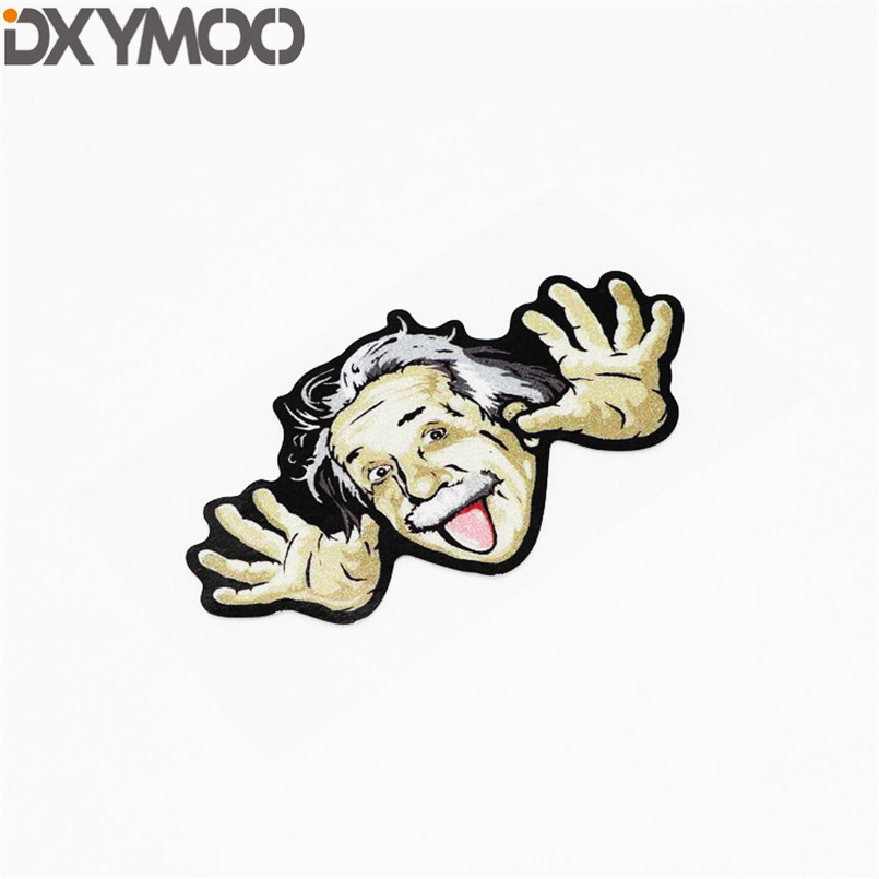 Exterior Accessories Humor Famous Figure Einstein Naughty Funny Motorcycle Bike Helmet Stickers Reflective Truck Auto Body Car Styling Decal 14x8cm Superior Performance