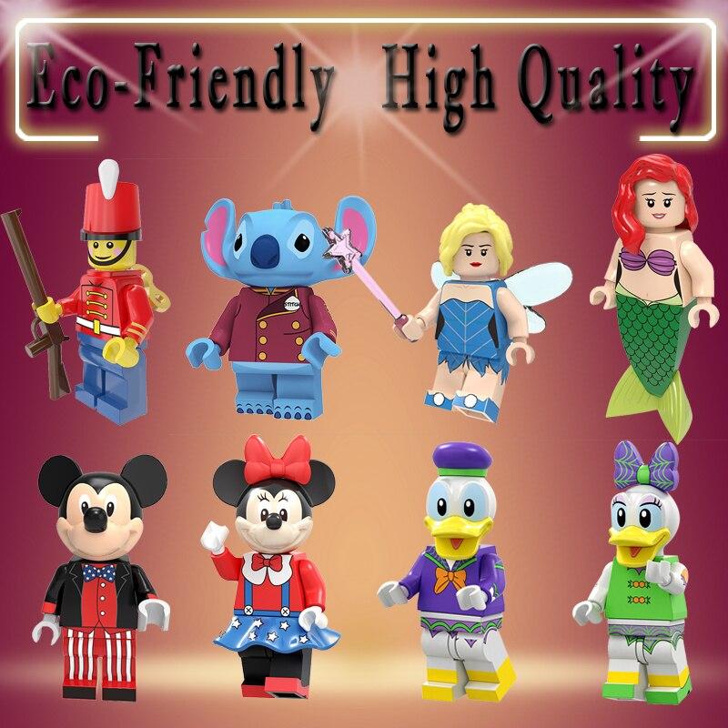 Pumping Series Cartoon Movie Bricks Mickey Duck Daisy Little Fairy Stitch Figures Building Blocks Model For Children Toys PG8225
