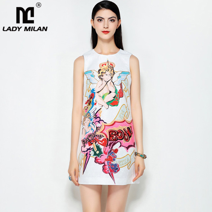 Lady Milan 2018 Womens O Neck Sleeveless Characters Printed Beaded A Line Fashion Designer Causal Summer Short Dresses