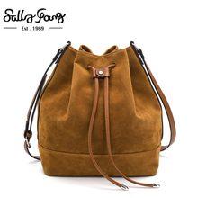 9f43700f24 Newest Brown Bucket Women Shoulder Bag Faux Suede Famous Brand Designer  Handbags Ladies Bags Female Crossbody Bags