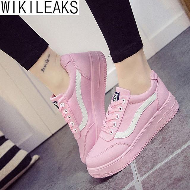 Wikileaks 2016 Женщины Весна Осень Повседневная Босоножки Холст Обувь Сплошной Цвет Плоские С Сдобы Обувь Zapatillas Deportivas Mujer