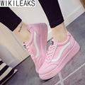 Wikileaks 2016 Mulheres Primavera Outono Casual Lace-Up Sapatos de Lona Cor Sólida Plana Com Muffin Sapatos Zapatillas Deportivas Mujer
