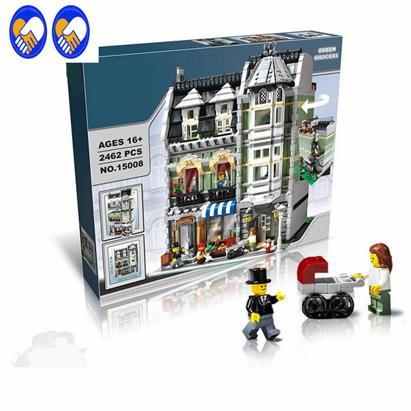 A Toy A Dream LEPIN 15008 2462Pcs Genuine New City Street Green Grocer Model Building Kit Blocks Bricks Toy Gift Compatible10185 a toy a dream lepin 02043 718pcs building blocks bricks new genuine city series airport terminal toys for children gifts