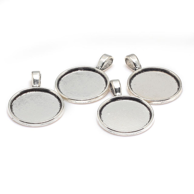 Antique silver metal zinc alloy 20mm round cabochon pendant settings antique silver metal zinc alloy 20mm round cabochon pendant settings jewelry pendant blanks charms 20pcs 7301a aloadofball Images