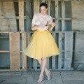 Изысканный Желтый Тюль Юбки На Заказ Ленты Талия A Line Колен Юбка Простые Элегантные Женские Юбки