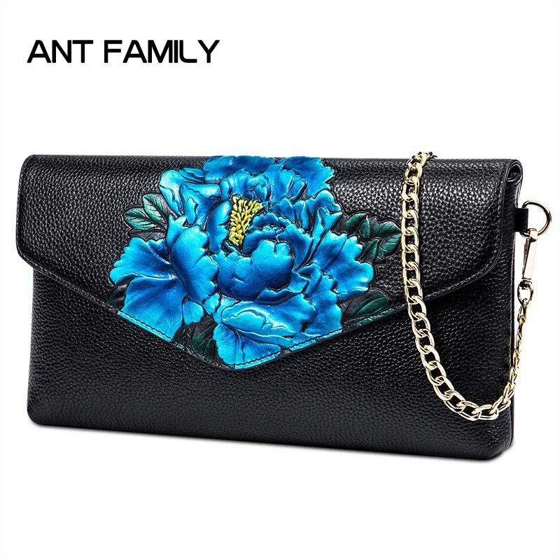Luxury Flower Messenger Bag Real Leather Bag Women Genuine Leather Clutch Fashion Ladies Party Bag Chain Shoulder Bags For Woman 2016 new winter ladies leather shoulder messenger trendy black bag chain real internal spacing free shipping