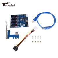 PCIe 1 4 PCI Expansion Card Riser Slots Adapter Port Kit Mini Components Blue