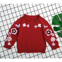 Dla dzieci chłopcy dziewczyna ubrania grube blaty dzianiny swetry płaszcz dla niemowląt dla niemowląt dzieci odzież sweter odzież wierzchnia swetry tanie tanio O-neck Floral Otwórz stitch REGULAR Na co dzień Pasuje prawda na wymiar weź swój normalny rozmiar COTTON Dziecko dziewczyny