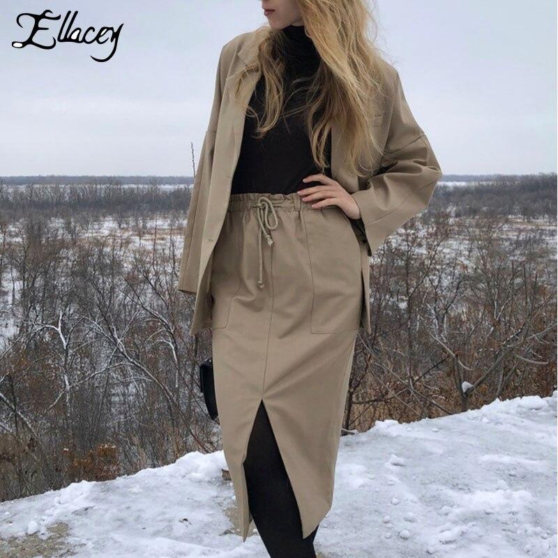 Ellacey 2019 Spring Fashion Women's Skirt Suits Office Lady Business Casual Retro Suits Women Blazer Split Skirt 2 Pieces Set