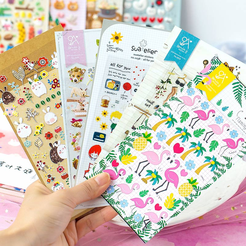 Cute Characters Animal Cartoon Flat Stickers DIY Decorative Diary Album Children's Stickers