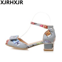 Sweet Print Low Heel Women's Sandals 2017 Summer Women Shoes Fashion Sandals Thick Heel Ankle Straps Big Size 32-43