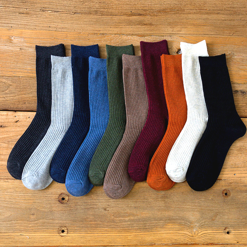New Harajuku Retro Men's Solid Color High Quality Colorful Casual Tube Socks Fashion Business Socks Wholesale 5 Pairs