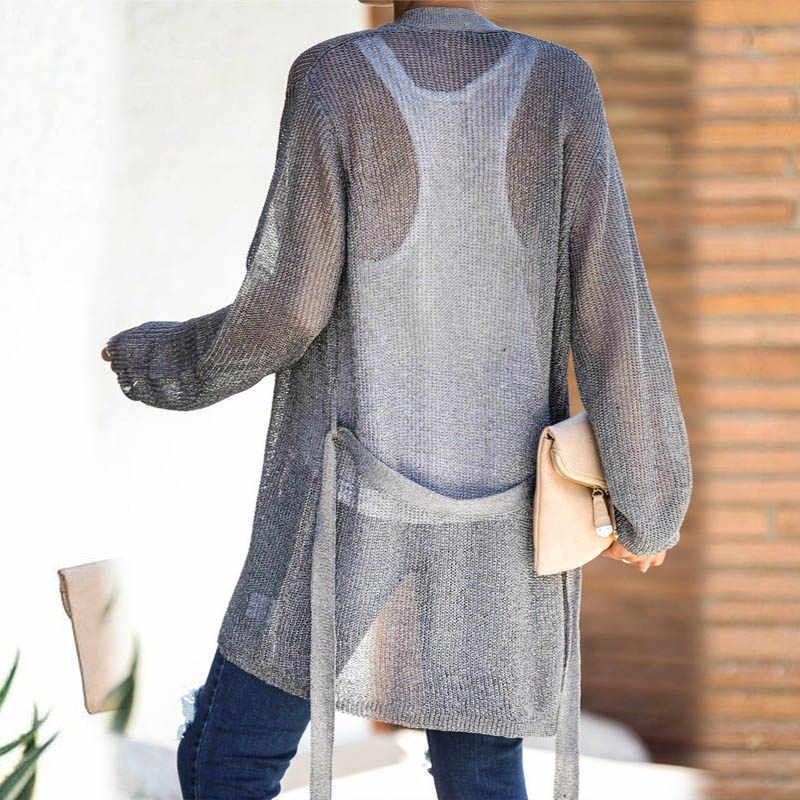 Ellacey 2019 Autumn Winter Knitting Women Sweaters Cardigan Casual Loose Gray Knitted Coat Open Stitch Long Cardigan Women